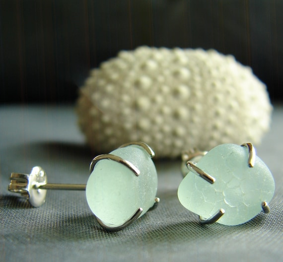 Tiny Ocean sea glass stud earrings in moonstone