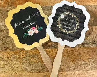 Personalized Wedding Fans - Hand Paddle Fan Favors - Floral Wedding Favors - Wedding Ceremony Fans - Wedding Favors (EB2354GDN) Set of 24