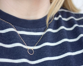 Textured Circle Necklace (Gold) - Modern Geometric Jewellery