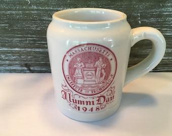 Vintage MIT Alumni Tankard Mug 1948 Walker China Vitrified VGC, MIT Vintage Collectible