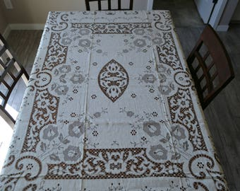 Antique Woven Scottish Tablecloth Ivory 1940's