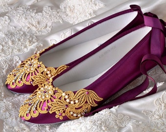 Wedding Shoes Womens Bridal Shoes Wedding Ballet Flats Womens Wedding Gold Vintage Lace Womens Shoes Elizabeth Wedding Bridal Shoes