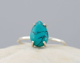 turquoise ring, sterling silver prong set ring, teardrop cabochon bright blue turquoise ring, Rachel Wilder Handmade Jewelry
