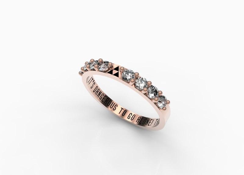 Zelda Wedding Band Engagement Ring Triforce Inspired Gold