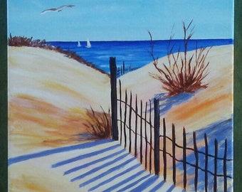 Beach Shadows and Sand Dunes 11x14 handpainted acrylic painting on canvas