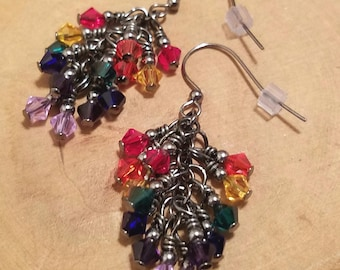Gunmetal finish Rainbow seven colors Swarovski crystal cascade earrings