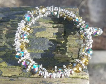 Silver & Amber Crystal Memory Wire Bracelet
