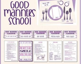 Good Manners School - Instant Download