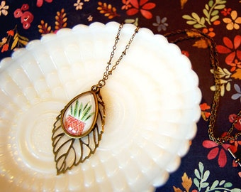green thumb house plant leaf necklace - brass beaded chain- teardrop cabochon