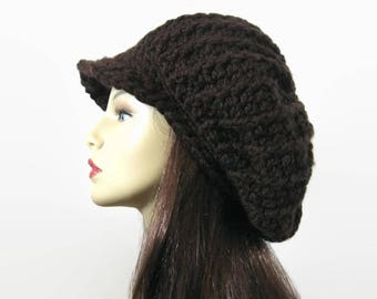 Brown Slouch Newsboy Hat Dreadlocks Hat with visor Adult Dark Brown knit Hat with Brim Slouchy oversized newsboy hat Adult newsboy cap