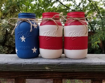 4th of July Mason Jars, American flag decor, USA, Patriotic, Americana