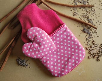 Hot water bag in soft fleece and fantasy fabric with fuchsia stars