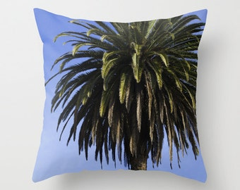 Seaside Palm Tree against a Blue Sky Photo, Home Decor Pillow Cover 18x18, Housewarming Gift, Wedding Anniversary, Engagement Present