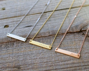 Gold Name Bar Necklace, Dainty Name Necklace, Initial Necklace, Bridesmaid Gift, Love Gift, Rose Gold Necklace, Rose Gold Bar Necklace