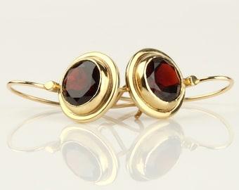 Garnet gold earrings, 14k solid gold red Garnet earrings, classic earrings, yellow gold drop earrings,  January birthstone earrings