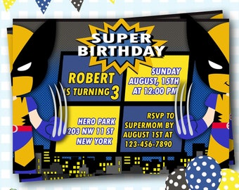 Wolverine Birthday Invitation, X-men Invitations, Wolverine Birthday Party, Superhero Party, Hulk Kids Birthday, Marvel Birthday - S85