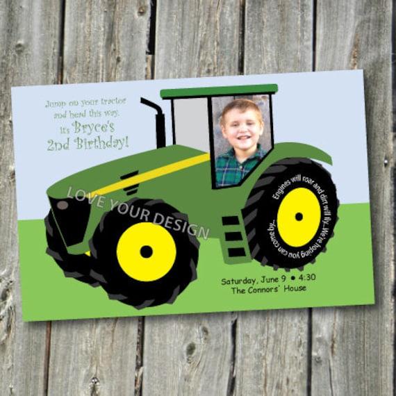 Invitation danniversaire de tracteur de ferme avec photo - Jeu de tracteur agricole gratuit ...