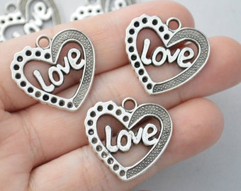6 Pcs Heart Charm Love Charm Word Charm Antique Silver Tone 27x26mm - YD0052