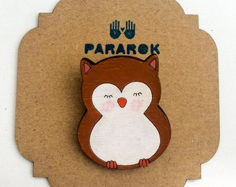 Wooden owl brooch, handpainted brooch, gift for owl lover, woodland animals, gift for her, laser cut, gift for women, owl pin