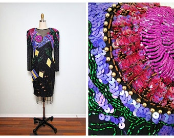 Reserved ** VTG Heavily Hand Beaded Dress • Geometric Abstract Trophy Dress • Braxae Vintage Co.