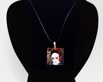 Glass tile pendant - Momoko - Unusual Contemporary Japanese Jewelry