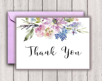 Wedding Thank You Notes, bridal thank you notes, thank you card, bridal thank you, floral thank you, purple thank you, B300