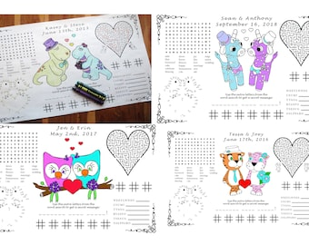 Wedding Activity PDF, You Choose Genders and Animals, Your Names & Date. Coloring, Maze, Dot to Dot.