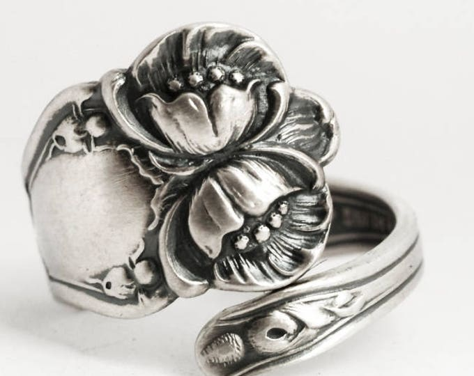 Wild Rose Ring, Sterling Silver Spoon Ring, Antique Baker Manchester, Floral Wild Rose, Handmade Gift Her, Adjustable Ring Size 6 7 8 (5900)
