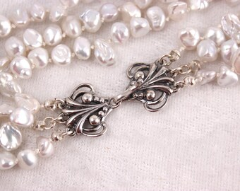 White Pearl Necklace, Three Strand Keishi, Knotted Silk Cord - Renee Necklace
