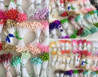 1 Set Millinery Flower Double Ended Stamens,Flower Pips,Pips Stamen,Floral,Scrapbooking Supply,Craft Supply,Artificial Flower Lot #17