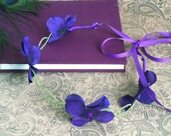 purple faerie flower crown - fits children, flower circlet, elven headpiece, floral halo, hydrangea flower crown, bohemian bride