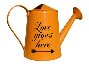 Monogram Watering Can, Personalized Watering Can, Garden watering Can , Love Grows here Decal Only