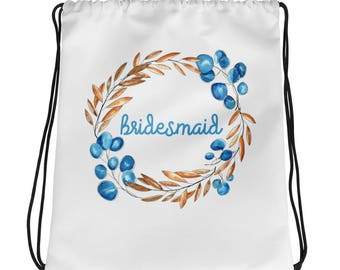 Bridesmaid Bridal Party Gift Drawstring bag