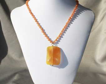 Peach Aventurine necklace with wavy yellow agate rectangle pendant
