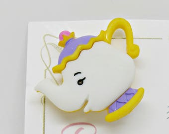 Mrs Potts Brooch, Mrs Potts Badge, Beauty and The Beast Badges, Belle Jewellery, Teapot Brooch