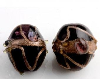 Vintage Venetian black wedding cake beads. India 15mm. Pkg of 1. b1-603(e)