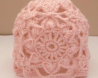 ladies crochet knit beanie hat, boho style, women's beanie hat, girls hat, woman's hat, boho hat, pink beanie hat, cloche hat,