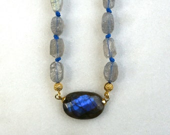 Labradorite Intensely Hued Pendant, RAW Nugget Necklace in Gold Vermeil...