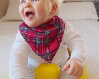 ON SALE | Bandana Baby Bib Scarf Red Stewart Royal Plaid