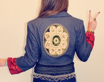 Cropped Jacket, Upcycled Jacket, Bohemian Jacket, Vintage Doily, Boho Jacket, Upcycled Clothing, Bohemian Clothing, Eco-Friendly Clothing