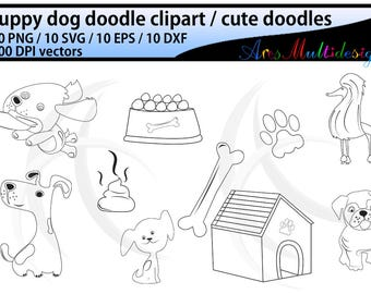 dog doodle clipart / hand drawn doodle dogs / cute puppy doodles / isolated cartoon / vector doodle / Eps / Svg / Dxf / Png / svg doodles