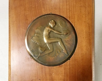 Pair of French Vintage Copper Medallions - Cymbal Players - Art Deco style