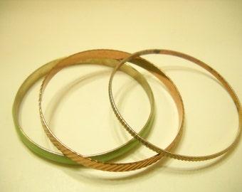 Three Vintage Bangle Bracelets (496) Copper Color & Mint Green