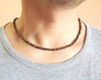 MENS NECKLACE Tiger Eye Necklace for Men Mens Jewelry Mens Beaded Necklace Gemstone Necklace Matt Onyx Necklace 4mm beaded Necklace