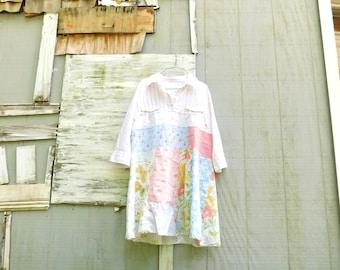 Spring Tunic, Blouse, Floral Tunic, White, Up-cycled Clothing, Flamingo, Summer, Upcycled Dress, Romantic, Boho, CreoleSha