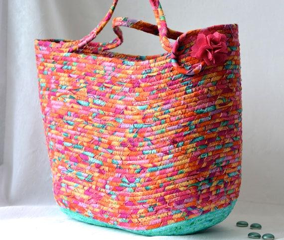 Gorgeous Tote Bag, Handmade Modern Pink Basket, Storage Organizer, Knitting Bag, Picnic Gift  Basket, Baby Shower Gift