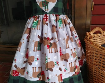 2-4t flannel moose Christmas dress