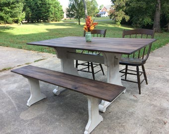 Farmhouse Table, Trestle, Cottage Chic, Country, Farm, Dining Table, Free Shipping