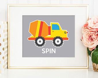 Trucks 04 Spin - 8x10 Nursery Art, Construction Trucks, Nursery Decor, Printable Art, Wall Art, Truck Decor, Truck Print