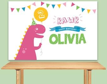 DIGITAL FILE Dinosaur Birthday, Dino Theme, Dinosaur Banner Backdrop, Large Scale Backdrop Printable, Dinosaur Party 60x40 inches